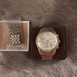 Michael Kors unisex Lexington two toned watch